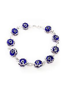 【送料無料】ブレスレット アクセサリ― トルコトルコスターリングブレスレット9041womens turkish evil eye turkish sterling silver flower charm bracelet 9041
