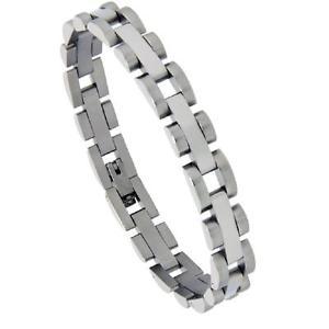 【送料無料】ブレスレット アクセサリ― ステンレススチールバーリンクサテンエッジブレスレットstainless steel polished bar link satin finish edge bracelet