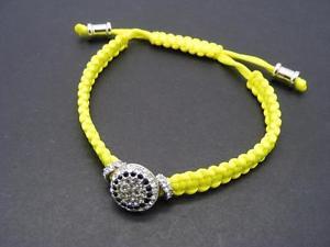 【送料無料】ブレスレット アクセサリ― ドルビンスラインストーンディスクネオンイエローマクラメブレスレット28 vince camuto pave rhinestone disc neon yellow macrame friendship bracelet