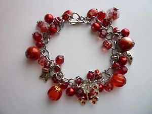 【送料無料】ブレスレット アクセサリ― シルバーブレスレット*silver tone charm bracelet reds butterfly