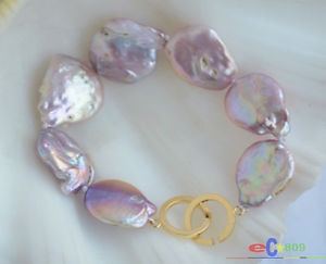 【送料無料】ブレスレット アクセサリ― ラベンダーバロックコインパールブレスレットp4831 8 22mm lavender baroque coin keshi reborn pearl bracelet