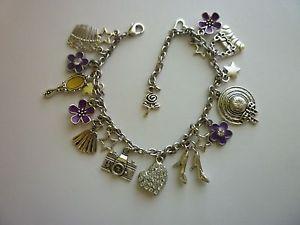 【送料無料】ブレスレット アクセサリ― シルバーブレスレットサザンベルパープルロブスタークラスプチェーン*silver tone charm bracelet southern belle purple lobster clasp ext chain