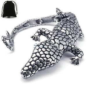 【送料無料】ブレスレット アクセサリ― 316ポンドステンレスシルバーブレスレットジュエリーheavy 316l stainless steel animal crocodile silver bracelet mens biker jewelry