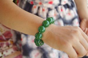 【送料無料】ブレスレット アクセサリ― ペレットラウンドビーズブレスレットlarge pellet round bead 18mm natural green jade elastic gem bracelets