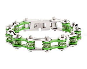 【送料無料】ブレスレット アクセサリ― ステンレススチールシルバーグリーンバイクチェーンブレスレットアメリカwomens stainless steel silver green bling bike chain bracelet usa seller