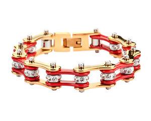 【送料無料】ブレスレット アクセサリ― ステンレススチールゴールドバイクチェーンブレスレットアメリカwomens stainless steel gold red bling bike chain bracelet usa seller