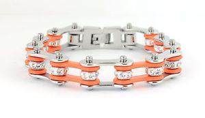 【送料無料】ブレスレット アクセサリ― オートバイステンレスオレンジバイクチェーンブレスレットwomens ladies motorcycle stainless steel crystal orange bike chain bracelet