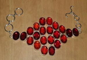【送料無料】ブレスレット アクセサリ― ガーネットシルバーメッキブレスレットred garnet quartz gemstone silver plated boho bracelet jewelry
