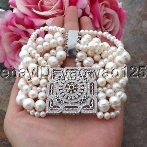 【送料無料】ブレスレット アクセサリ― ストランドホワイトパールブレスレットk092412 8 7 strands white pearl bracelet