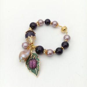【送料無料】ブレスレット アクセサリ― シーシェルパールアメジストパールブレスレットペンダント8 purple sea shell pearl amethyst keshi pearl bracelet cz pave bee pendant
