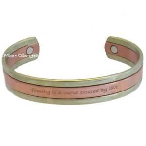 【送料無料】ブレスレット アクセサリ― ブレスレットメッセージmagnetic bracelet silver copper message arthritis pain jewelry family love