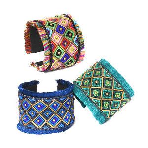 【送料無料】ブレスレット アクセサリ― マルチカラーハンドメイドカフスビーズセット multi color handmade beads set of 3 cuffs
