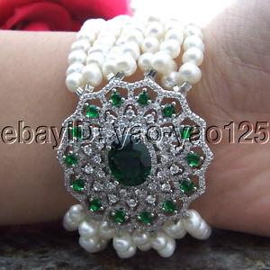 【送料無料】ブレスレット アクセサリ― ストランドホワイトラウンドパールコネクタブレスレットs120413 8 8 strands white round pearl cz connector bracelet