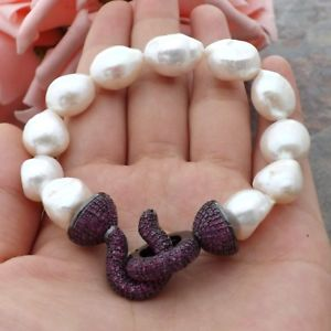 【送料無料】ブレスレット アクセサリ― ホワイトバロックパールブレスレットクラスプge060109 8 white baroque pearl bracelet cz clasp