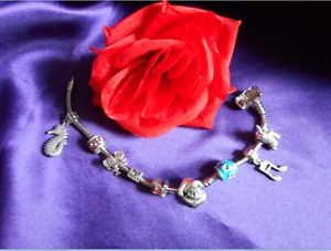 【送料無料】ブレスレット アクセサリ―  7 multi 9255ブレスレット 7 multi 925 silver 5 charms bracelet, girl friendship birthday gift