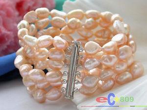 【送料無料】ブレスレット アクセサリ― ピンクバロックブレスレットp2953 8 6row 12mm pink baroque freshwater cultured pearl bracelet