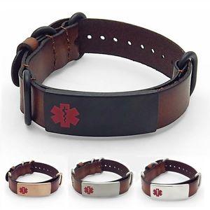 【送料無料】ブレスレット アクセサリ― idtaggedidブレスレットステンレスタグidtagged adjustable brown leather medical alert id bracelet stainless steel tag
