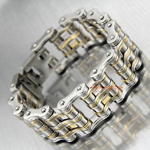 【送料無料】ブレスレット アクセサリ― ステンレスオートバイバイクチェーンリンクブレスレットheavy solid stainless steel motorcycle bike chain link mens biker bracelet