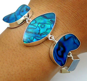 【送料無料】ブレスレット アクセサリ― アワビシェル925スターリングブレスレットsc166natural blue abalone shell 925 sterling silver bracelet women jewelry sc166