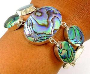 【送料無料】ブレスレット アクセサリ― pauaアワビシェル925ステートメントシルバーブレスレットジュエリーsd121natural paua abalone shell 925 sterling statement silver bracelet jewelry sd121