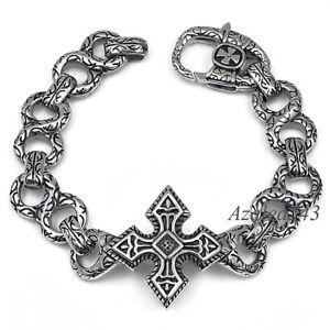 【送料無料】ブレスレット アクセサリ― 316ポンドステンレスリンクブレスレット89シルバークロ235cmmens silver cross 316l stainless steel link bracelet 89 inch 235cm