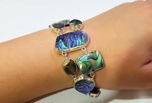 【送料無料】ブレスレット アクセサリ― アワビシェルスターリングシルバーブレスレットnatural abalone shell 925 sterling silver statement bracelet women jewelry sc181