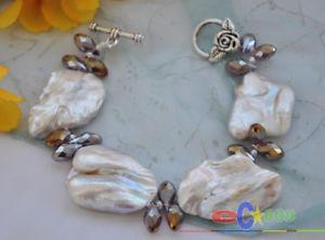 【送料無料】ブレスレット アクセサリ― バロックパールクリスタルブレスレットp3512 huge 8 38mm baroque white keshi reborn pearl crystal bracelet