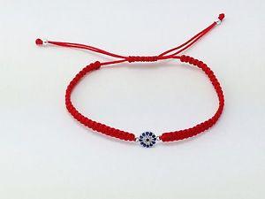 【送料無料】ブレスレット アクセサリ― マクラメブレスレットスターリングシルバーevil eye red macrame bracelet 925 sterling silver cz crystals kabbala silverbar