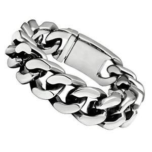 【送料無料】ブレスレット アクセサリ― ヘビーチェーンリンクブレスレットインチワイドインチステンレススチールheavy chain link bracelet 34 inch wide 85 inch long stainless steel