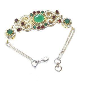 【送料無料】ブレスレット アクセサリ― シルバーエメラルドルビーミーナロイヤルラージャスターンブレスレット listing925 silver amp; brass emerald,ruby kundan meena royal rajasthani bracelet