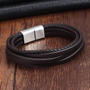 【送料無料】ブレスレット アクセサリ― ステンレスチェーンレザーブレスレットヴィンテージジュエリーfashion stainless steel chain leather bracelet vintage braid jewelry