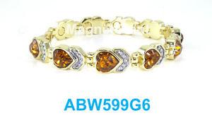 【送料無料】ブレスレット アクセサリ― トパーズリンクパワーtopaz heart crystals women gold plated link high power magnetic bracelet