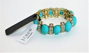【送料無料】ブレスレット アクセサリ― ラインストーンストレッチブレスレットターコイズゴールドクリアnwt j crew rhinestone stretch bracelet turquoise, gold, clear