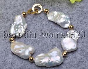 【送料無料】ブレスレット アクセサリ― ホワイトバロックパールブレスレットインチz7412 natural 8 30mm white baroque keshi reborn pearl bracelet 8inch