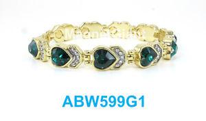 【送料無料】ブレスレット アクセサリ― ダークグリーンハートリンクハイパワーブレスレットdark green heart crystals women gold plated link high power magnetic bracelet