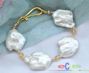 【送料無料】ブレスレット アクセサリ― ホワイトバロックパールブレスレットp3690 huge 8 32mm white baroque keshi reborn pearl bracelet