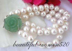 【送料無料】ブレスレット アクセサリ― パールブレスレットz2362 3row 10mm round white fw pearl bracelet jade
