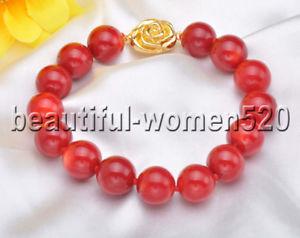 【送料無料】ブレスレット アクセサリ― ブレスレット8z8009 aaa12mmレッドz8009 aaa natural 12mm red round coral bead bracelet 8inch