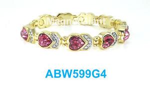 【送料無料】ブレスレット アクセサリ― ピンクハートリンクハイパワーブレスレットpink heart crystals women gold plated link high power magnetic bracelet abw599g4