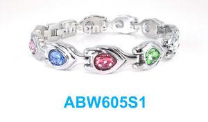 【送料無料】ブレスレット アクセサリ― マルチカラードロップリンクハイパワーブレスレットmulti color drop crystals women silver plated link high power magnetic bracelet