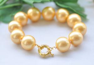 【送料無料】ブレスレット アクセサリ― ビッグサウスシーシェルパールブレスレットp7192 8 big 18mm round golden south sea shell pearl bracelet
