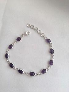 【送料無料】ブレスレット アクセサリ― シルバーブレスレットsilver bracelet 925 with purple stones