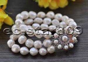 【送料無料】ブレスレット アクセサリ― ホワイトバロックブレスレットp6890 3row 8 14mm white baroque freshwater pearl bracelet