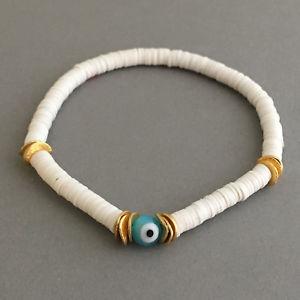 【送料無料】ブレスレット アクセサリ― ゴールドディスクビニールビーズブレスレットスターリングシルバーevil eye and gold disc white vinyl beaded bracelet also in sterling silver