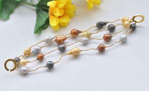 【送料無料】ブレスレット アクセサリ― マルチカラーバロックパールドロップブレスレットp7314 4row 8 18mm multicolor baroque drop keshi pearl bracelet