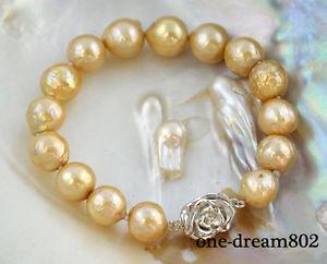 【送料無料】ブレスレット アクセサリ― エジソンパールブレスレットrare 8 12mm gold almost round edison reborn pearl bracelet
