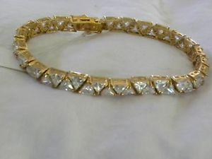 【送料無料】ブレスレット アクセサリ― ゴールドスターリングシルバーテニスブレスレットgold washed sterling silver amp; cz tennis bracelet 8 signed goj