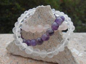 【送料無料】ブレスレット アクセサリ― アメジストローズクォーツクリスタルビーズブレスレットコンボhi quality amethyst,rose quartz amp; crystal quartz beaded bracelets combo bn
