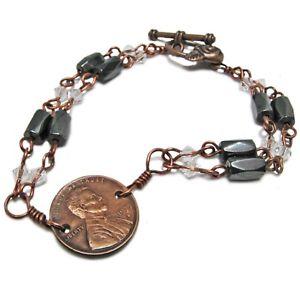 【送料無料】ブレスレット アクセサリ― ヘマタイトペニーブレスレットswarovsky crystal, magnetic hematite, and copper penney bracelet by soniamcd
