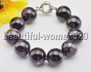 【送料無料】ブレスレット アクセサリ― ビーズアメジストブレスレットインチz8276 real purple 18mm round bead amethyst bracelet 8inch